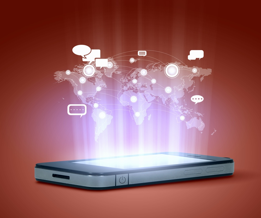 Modern communication technology illustration with mobile phone and high tech background.jpeg